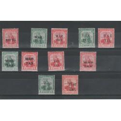 TRINIDAD E TOBAGO 1917-18  TASSE DI GUERRA SOPRASTYAMPE DIVERSE  11 VAL  MNH MF54802