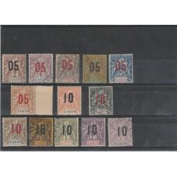 GABON 1912  SOPRASTAMPATI 13 VAL   MISTI MF54807