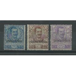 1903 ERITREA ALTI VALORI DELLA SERIE FLOREALE 3 V. MNH CERT. CAFFAZ MF26890