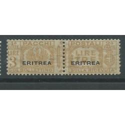 1927-37 ERITREA PACCHI POSTALI 3 LIRE GIALLO BRUNO SASS. N 29 MLH CAFFAZ MF26889