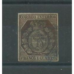 1853 SPAGNA ESPANA POSTA LOCALE MADRID STEMMA 1 Cent USATO CAFFAZ MF27853