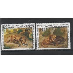 MAURITANIE MAURITANIA 1973 FAUNA ANIMALI LEONI  2 VAL MNH MF54842