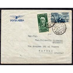 1937 ETIOPIA AEROGRAMMA - ADDIS ABEBA / NAPOLI - 25 C. + 1,25 L. CHIAVARELLO MF27855