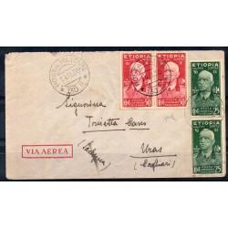 1936 ETIOPIA AEROGRAMMA POSTA MILITARE 130 E / URAS 25 C. + 50 C. CHIAVAR. MF27856
