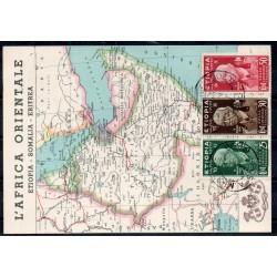1937 ETIOPIA CARTOLINA POSTA MILITARE 106 / CUNEO 25C. + 30 C. + 50 C. MF27860