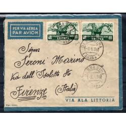 1938 ERITREA AEROGRAMMA DEBRA SINA / FIRENZE AFFRANCATURA MISTA BIONDI MF27870