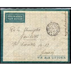1937 ETIOPIA AEROGRAMMA ADDIS ABEBA / GENOVA AFFRANCATURA AL VERSO BIONDI MF27871