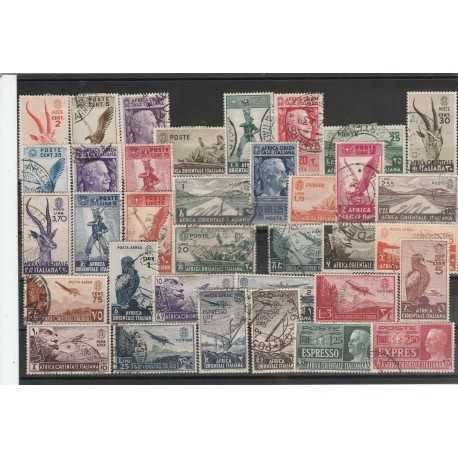 1938 AOI POSTA ORDINARIA E AEREA SERIE SOGGETTI VARI 35 VAL USATI MF54898