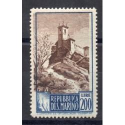 1949 SAN MARINO PAESAGGI LIRE 200 AZZURRO E BRUNO CENTRO SPOSTATO MNH MF27942