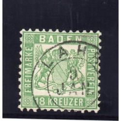 1862 GERMANIA ANTICHI STATI BADEN 18 KREUZER VERDE N 20 USATO E. DIENA MF27888