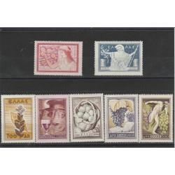 1953 GRECIA GREECE PRODOTTI AGRICOLI  7 VALORI MLH MF54914