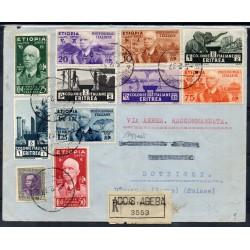 1937 ETIOPIA AEROGRAMMA ADDIS ABEBA / DOTZIGEN SWISS AFFRANCATURA MISTA CAFFAZ MF28172