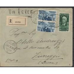 1937 ETIOPIA AEROGRAMMA ADDIS ABEBA / VIAREGGIO 25 C. + 1,25 L x 2 CAFFAZ MF28175