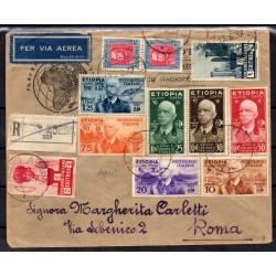 1937 ETIOPIA AEROGRAMMA ADDIS ABEBA / ROMA AFFRANCATURA MISTA CAFFAZ MF28177