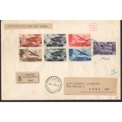 1933 EM. GENERALI LETTERA AEREA RACCOMANDATA CINQUANTENARIO ERITREO CAFFAZ MF28188