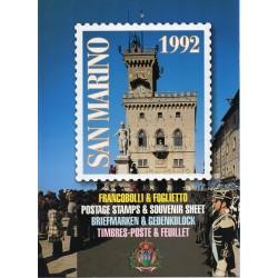 1992 SAN MARINO LIBRO UFFICIALE COMPLETO RACCOLTA EMISSIONI FILATELICHE MF28194
