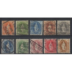 1882 / 1904 SVIZZERA HELVETIA IN PIEDI FILIGRANA CROCE IN OVALE 10 V USATI MF28376
