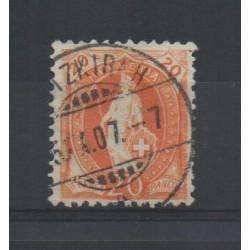 1907 SVIZZERA HELVETIA IN PIEDI CON FILI SETA 20 C. ARANCIO USATO MF28381