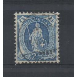 1907 SVIZZERA HELVETIA IN PIEDI CON FILI SETA 25 C. AZZURRO USATO MF28379