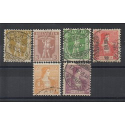 1907 SVIZZERA HELVETIA WALTER TELL E HELVETIA SERIE COMPLETA 6 VAL USATI MF26967