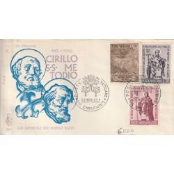 1963 FDC VENETIA N. 75/V VATICANO GLI APOSTOLI DEI POPOLI SLAVI MF80104