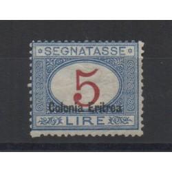 1920 / 1926 ERITREA SEGNATASSE 5 LIRE SOPRAST. IN BASSO N 23 MLH CILIO MF28541