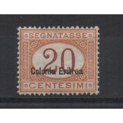 1920 / 26 ERITREA SEGNATASSE 20 CENT. SOPRAST. IN BASSO CENTRATO MLH CILIO MF28449