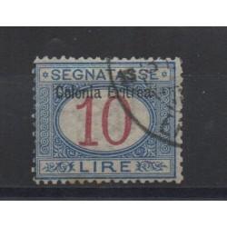 1903 ERITREA SEGNATASSE 10 LIRE SOPRASTAMPA IN ALTO USATO CILIO MF28450