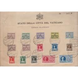 1929 VATICANO VATICAN CITY CONCILIAZIONE  FRONTESPIZIO  FDC  15 VAL USATI  MF54953