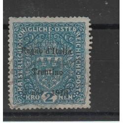 1918 TERRE REDENTE VENEZIA GIULIA 2 KRONEN AZZURRO SASS n. 15 USATO MF55113