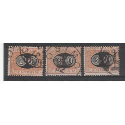 1890 - 91 REGNO ITALIA SEGNATASSE MASCHERINE 3 VAL USATI MF55129