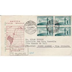 1958 FDC CAPITOLIUM AMICIZIA ITALIA. BRASILE QUARTINA VIAGGIATA  MF54429