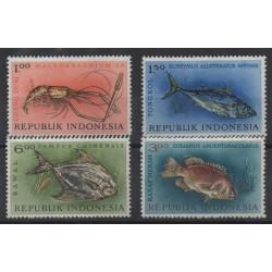 1973 INDONESIA FAUNA PESCI  E CROSTACEI 4 VAL  MNH  MF55541