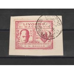 1930  EMISSIONI LOCALI MUSSOLINI A LIVORNO 30 c. Sass . N 1 USATO MF55598