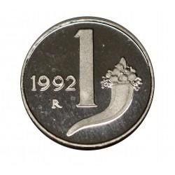 1992 REPUBBLICA ITALIANA MONETA LIRE 1 CORNOCOPIA FS PROOF MF28309