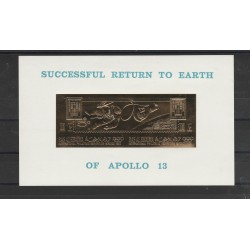 1969 RAS AL KHAIMA  SPAZIO  RETURN APOLLO 13 ORO GOLD  2 VAL + 1 BF  MNH MF55640
