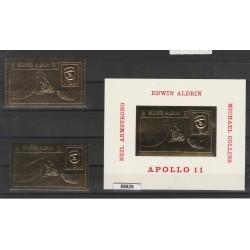 1969 RAS AL KHAIMA  KENNEDY  SPAZIO  APOLLO 11 ORO GOLD  2 VAL + 1 BF  MNH MF55629