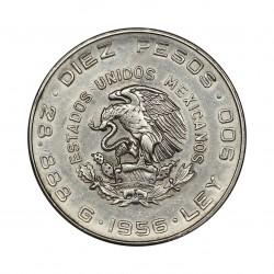 1956 MEXICO DIEZ PESOS HIDALGO ARGENTO - SILVER 900/1000 ORIGINALE MF28559