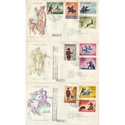 1961 FDC VENETIA SAN MARINO 59 1-2-3/SM SERIE CACCIA ANTICA VIAGGIATE MF81768
