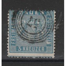 1860-62 GERMANIA ANTICHI STATI BADEN 3 KREUZER OLTREMARE N 10 USATO MFF55808