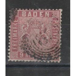1860-62 GERMANIA ANTICHI STATI BADEN 6 KREUZER ROSA N 11 USATO MFF55807