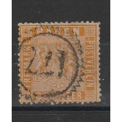 1860-62 GERMANIA ANTICHI STATI BADEN 6 KREUZER ARANCIO N 11a USATO MFF55801