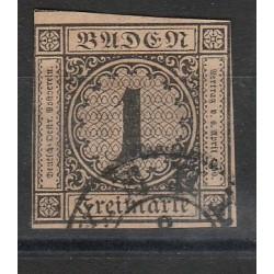 1851-52 GERMANIA ANTICHI STATI BADEN 1 KREUZER BRUNASTRO N 1 USATO MFF55800