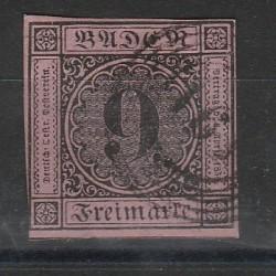 1851-52 GERMANIA ANTICHI STATI BADEN 9 KREUZER ROSA N 1 USATO MFF55802
