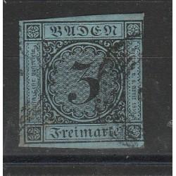 1851-52 GERMANIA ANTICHI STATI BADEN 3 KREUZER  VERDE AZZURRO  N 7 USATO MFF55799