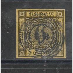 1851-52 GERMANIA ANTICHI STATI BADEN 6 KREUZER  GIALLO N 8 USATO MFF55798