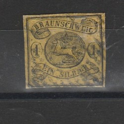 1853 GERMANIA ANTICHI STATI BRUNSWICK STEMMA N 7 USATO MF55795