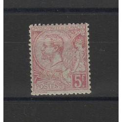 1891-94 MONACO EFFIGIE PRINCIPE ALBERTO I  5 F. 1 V MLH UNIFICATO N 21 MF55879