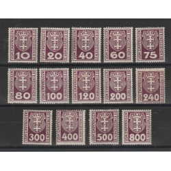 1921 GERMANIA OCCUPAZIONI DANZICA  SEGNATASSE STEMMA   14 VAL MLH MF55783