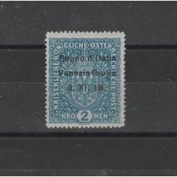 1918 TERRE REDENTE VENEZIA GIULIA 2 KRONEN AZZURRO SASS  n. 15 MNH CAFFAZ  MF569052